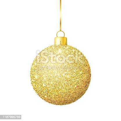 istock Gold glitter shiny christmas ball 1187995759