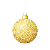 Christmas ball with gold glitter