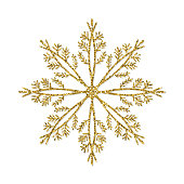 Gold Glitter Snowflake Ornament. Design Element for Christmas and New Year Greeting Cards and Designs. Sparkling Golden Snowflake with Glitter Texture. Winter Holidays Decoration Design Element.