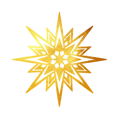 Gold Glitter Snowflake Ornament. Design Element for Christmas and New Year Greeting Cards and Designs. Sparkling Snowflake with Gold Texture. Winter Holidays Decoration Design Element.