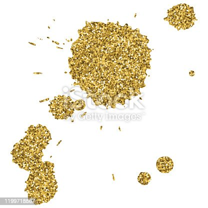 Gold Glitter Splash Design Element. Golden Glittering Circle Splatter Texture Vector Background. Gold colored Paint on the White Background.