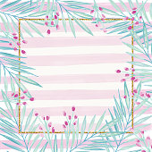 Gold Glitter Square Frame with Delicate Leaves and Berries on Pink Striped Background. Geometric Botanical Vector Design Frame. Tropical Summer Concept, Design Element.