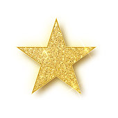 Gold glitter star vector isolated. Golden sparkle luxury design element isolated. Icon of star isolated. New Year s decor element. Ramadan design element Template.