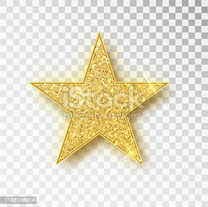 istock Gold glitter star vector isolated. Golden sparkle luxury design element isolated. Icon of star isolated. New Year s decor element. Ramadan design element Template 1168148914