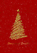 Gold Glitter Stars Christmas Tree On Red Background. This original artwork vector illustration can be a postcard, invitation, poster or flayer.