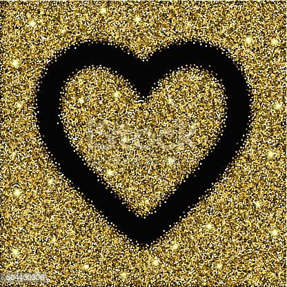 gold glitter texture and heart frame. gold glitter background for card, gift, luxury, present, shopping. gold glitter texture for Valentines day design. Design template for invitation, congratulation