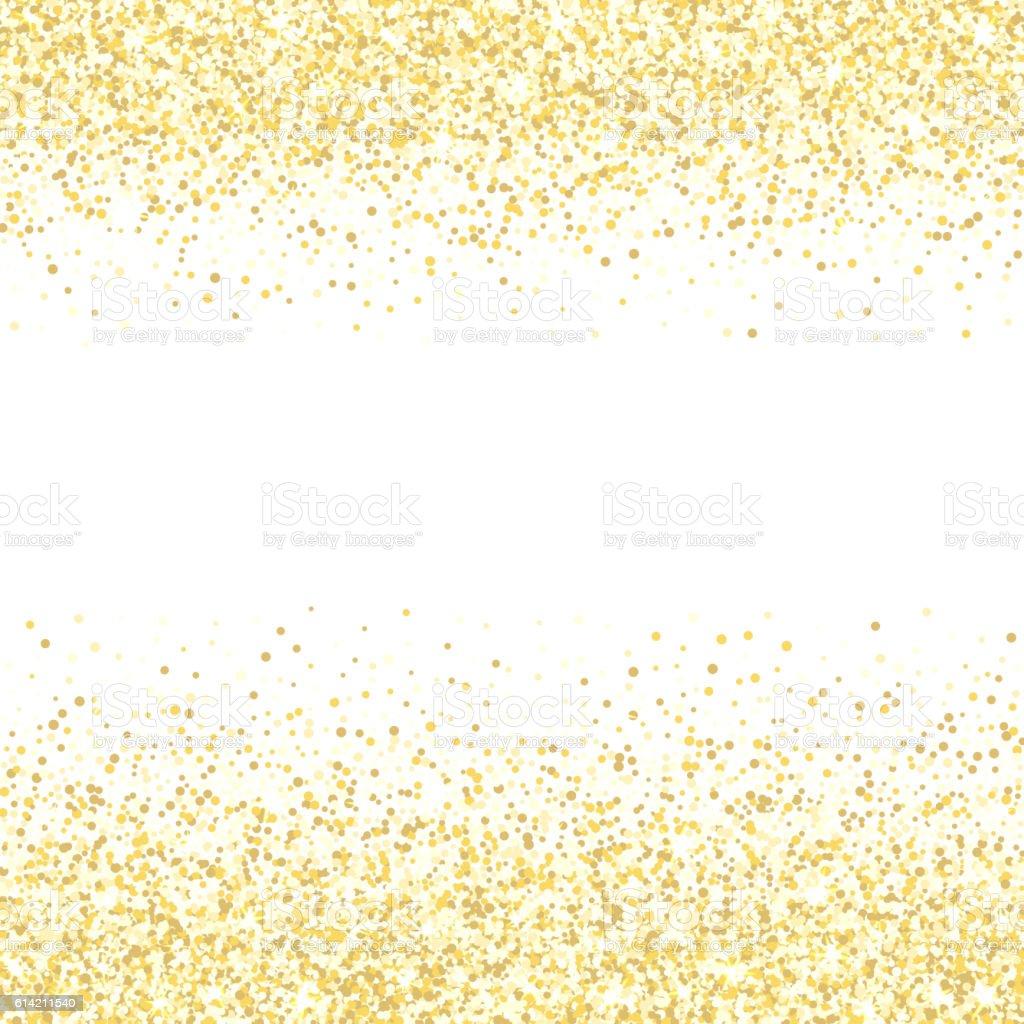 Gold glitter texture. Golden shiny sparkles on white background. vector art illustration