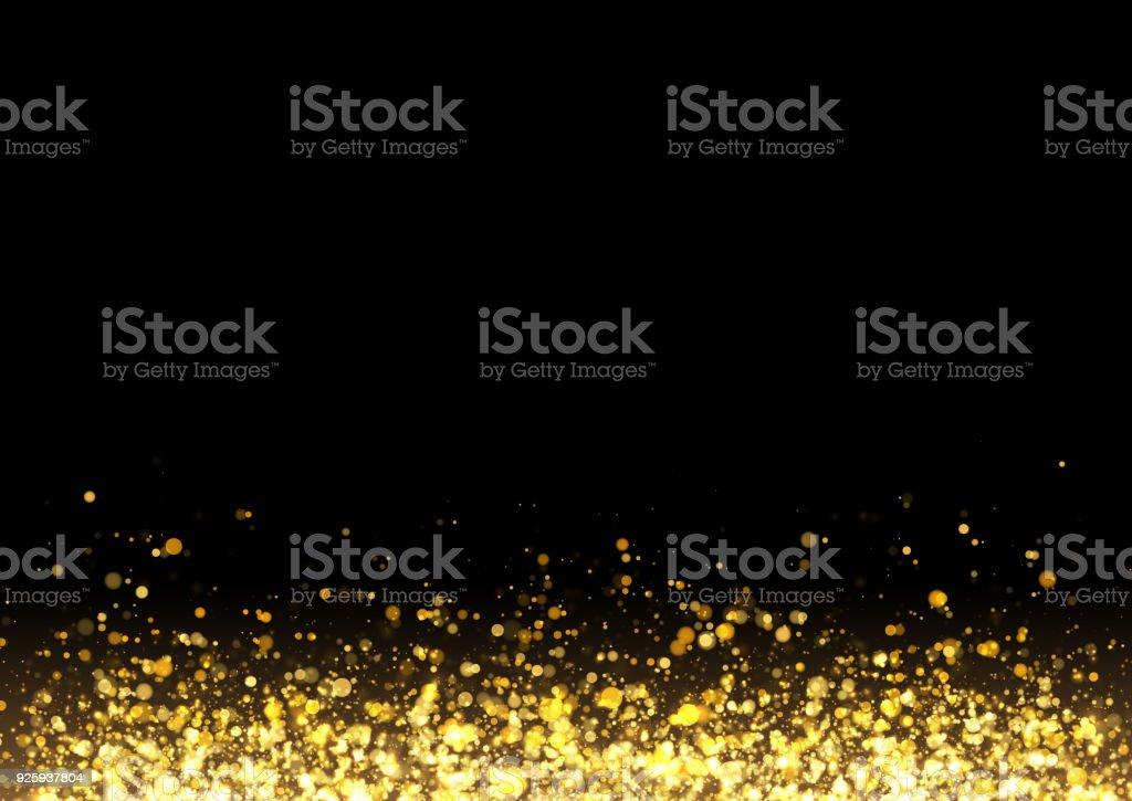 Gold glitter texture. Irregular confetti border on a black background. Christmas or party flyer design element. Vector illustration vector art illustration