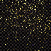Confetti particles flying in the air, explosion golden fragments concept. Gold glitter texture isolated on black transparent background, vector illustration.