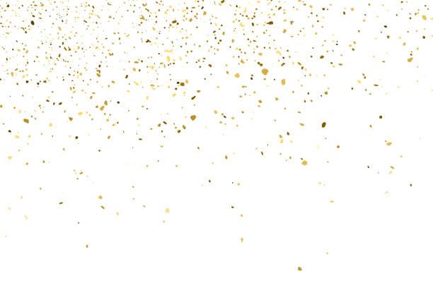 stockillustraties, clipart, cartoons en iconen met gold glitter textuur geïsoleerd op wit. - confetti