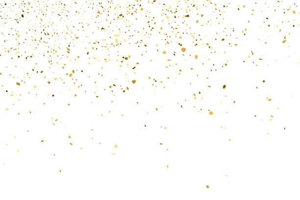 gold glitter texture isolated on white. - confetti stock illustrations