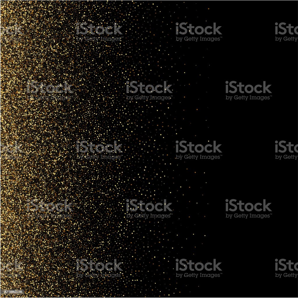 Gold glitter texture on a black background. Golden explosion of confetti. Golden grainy abstract texture on a black background vector art illustration