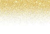 Gold colored vector circles and shiny star reflections illustrating a glitter gradient texture background