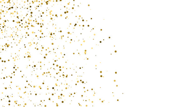 Gold Glitter Texture. Gold Glitter Polka Dot Texture Isolated On White. Amber Particles Color. Celebratory Background. Golden Explosion Of Confetti. Vector Illustration, Eps 10. sergionicr stock illustrations