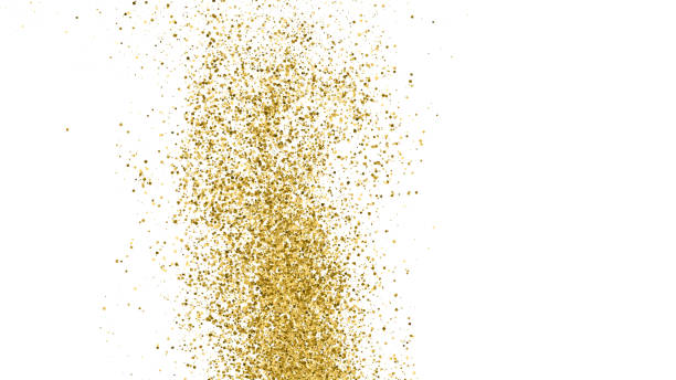 Gold Glitter Texture. Gold Glitter Texture Isolated On White. Amber Particles Color. Celebratory Background. Golden Explosion Of Confetti. Vector Illustration, Eps 10. sergionicr stock illustrations