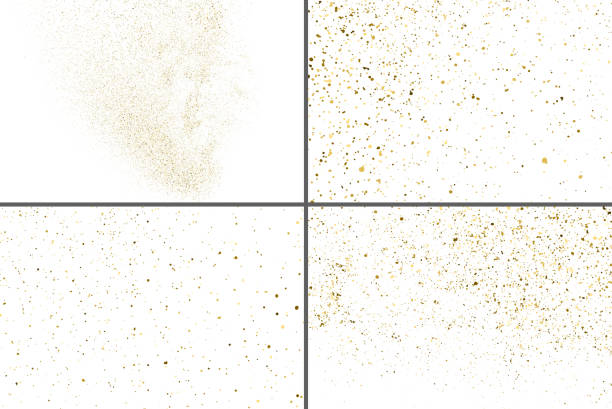 Gold Glitter Texture Vector. Set Design Element. Gold Glitter Texture Isolated On White. Amber Particles Color. Celebratory Background. Golden Explosion Of Confetti. Set Design Element. Digitally Generated Image. Vector Illustration, Eps 10. sergionicr stock illustrations