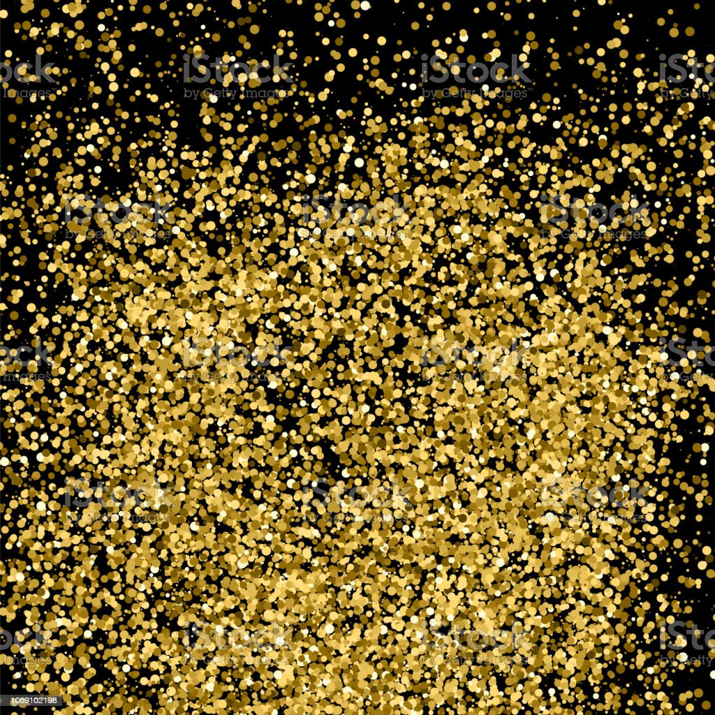 Gold glitter texture isolated on black. Amber particles color....