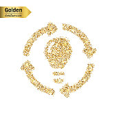 Gold glitter vector icon of bulb with arrows isolated on background. Art creative concept illustration for web, glow light confetti, bright sequins, sparkle tinsel, bling logo, shimmer dust, foil.