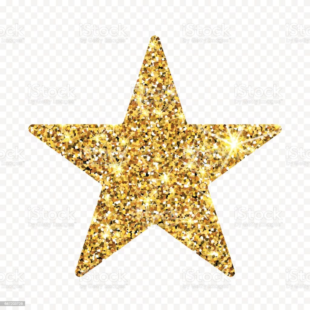 Gold glitter vector star golden sparcle amber particles
