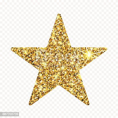 Gold glitter vector star. Golden sparcle luxury design element. Amber particles.