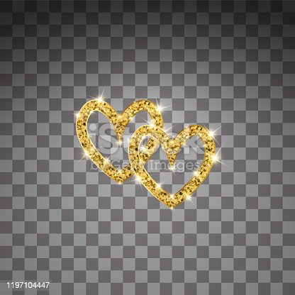 Gold glitter vector two hearts. Golden sparcle St. Valentines day card. Luxouy design element. Amber particles on transparent background