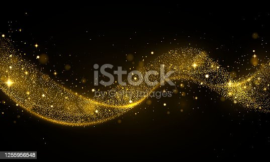 Golden glitter wave of comet trace Star dust trail sparkling particles on transparent background Gold confetti glittering wave Light effect Vector abstract gold flare