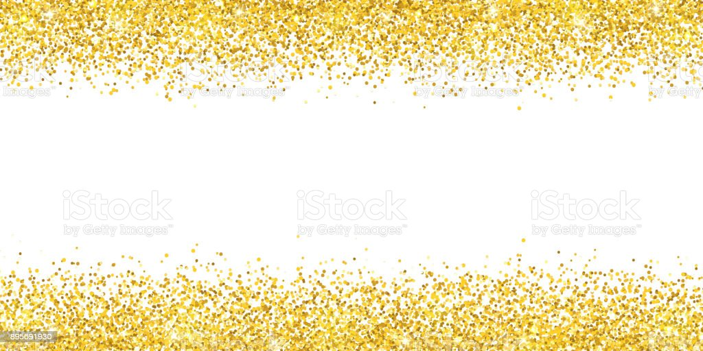 Gold glitter wide border backround. Vector