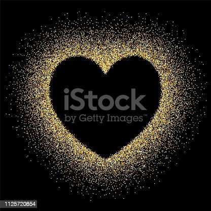 Heart shape empty space on gold glitter