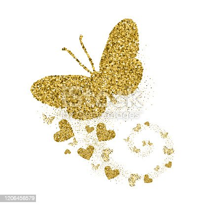 istock Gold glittering butterfly with hearts. Beautiful golden silhouettes on white background. For Valentines day, wedding invitations, cards, branding, label, banner, concept design. Vector illustration. 1206456579