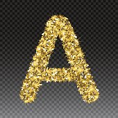 Gold glittering letter A. Vector shining golden font lettering of sparkles on checkered background.