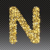 Gold glittering letter N. Vector shining golden font lettering of sparkles on checkered background.