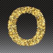 Gold glittering letter O. Vector shining golden font lettering of sparkles on checkered background.