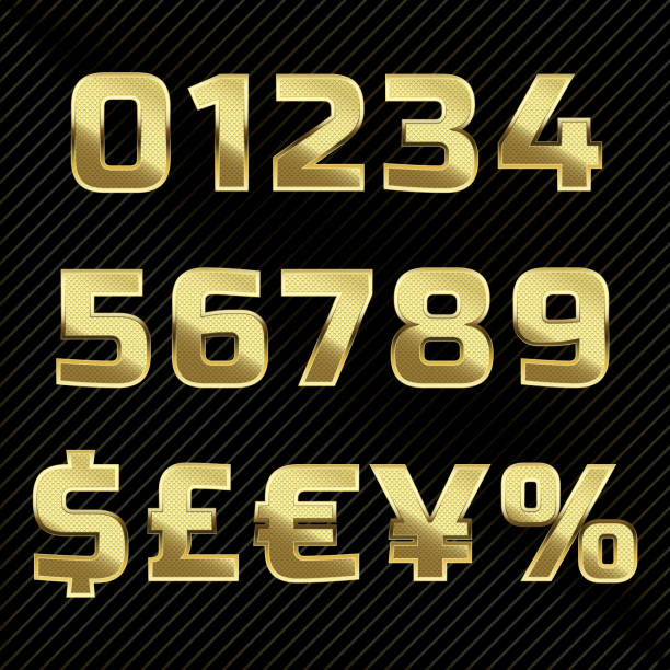 Gold glittering metal alphabet - numbers and symbols Gold glittering metal alphabet set numbers, currency signs. taiwanese currency stock illustrations