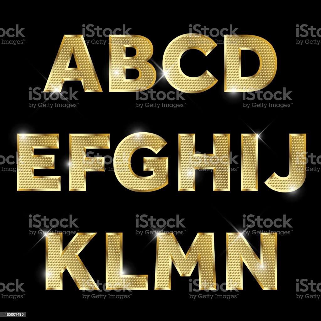 Gold glittering metal alphabet set A to N uppercase. vector art illustration