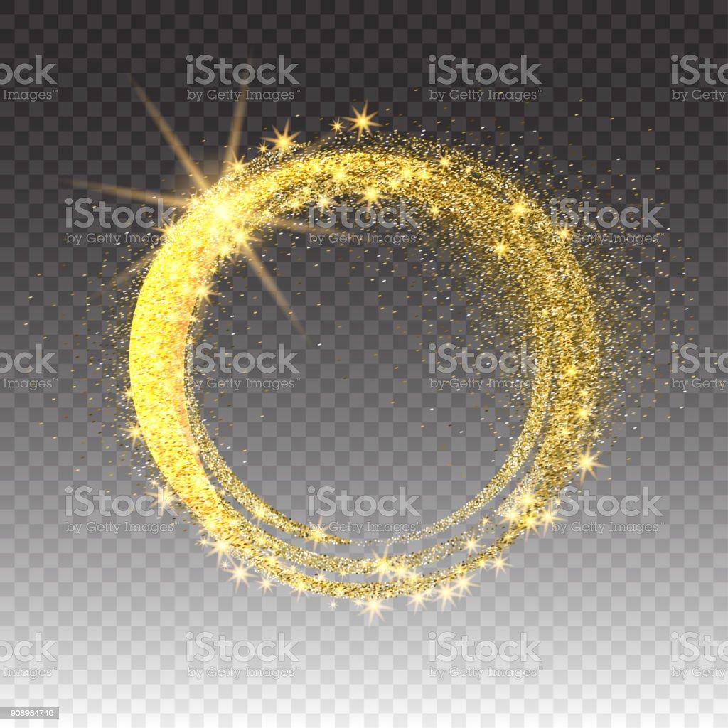 Gold glittering star dust circles. Twinkling ellipse on checkered background, vector illustration vector art illustration