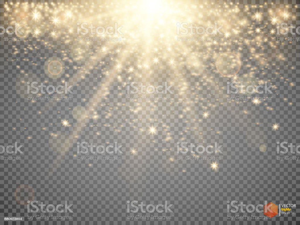 Gold glittering star dust trail sparkling particles on transparent background. vector art illustration