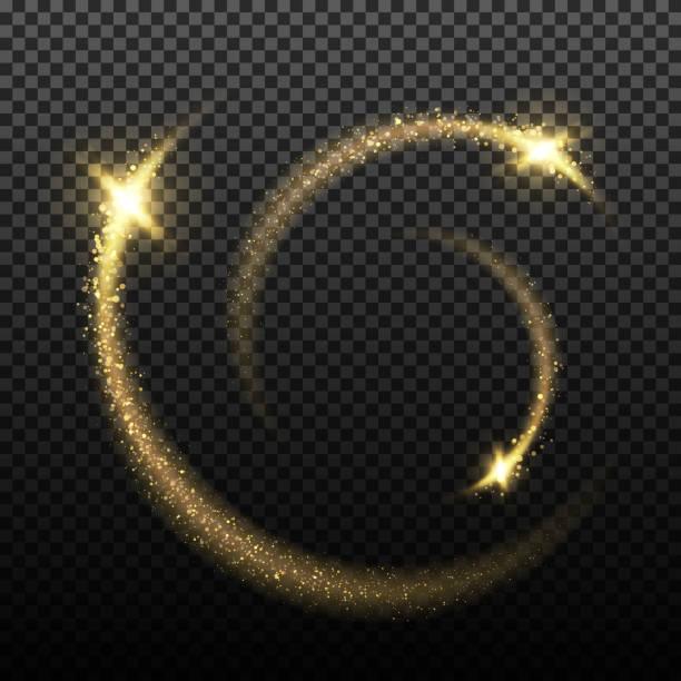 Gold glittering stardust lights vector art illustration