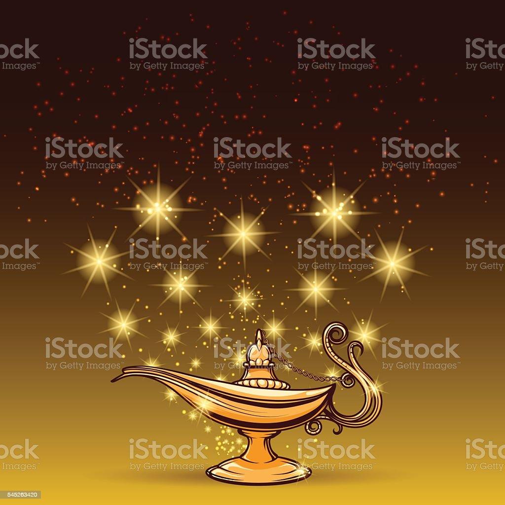 Gold glitters and aladdin lamp vector art illustration