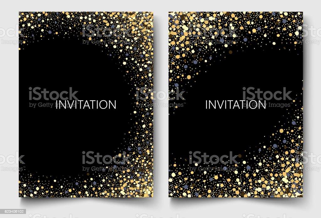 Gold glitters on a black background.Colored confetti design invitation Vector eps10 vector art illustration