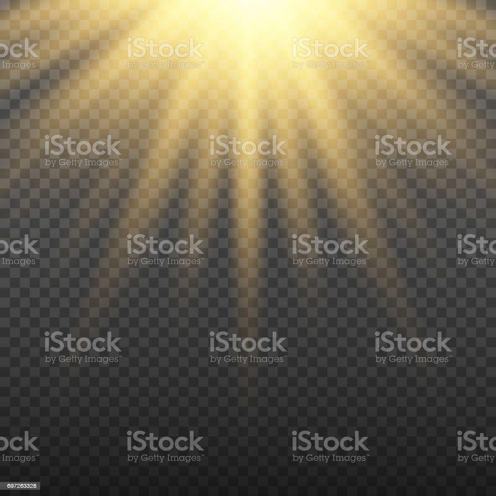 Gold gleißenden Licht platzen Explosion auf transparenten Hintergrund. Hellen Flare-Effekt Dekoration mit Ray funkelt. Transparenter Glanz gradient Blendung Textur. Vektor-Illustration-Licht-Effekt – Vektorgrafik
