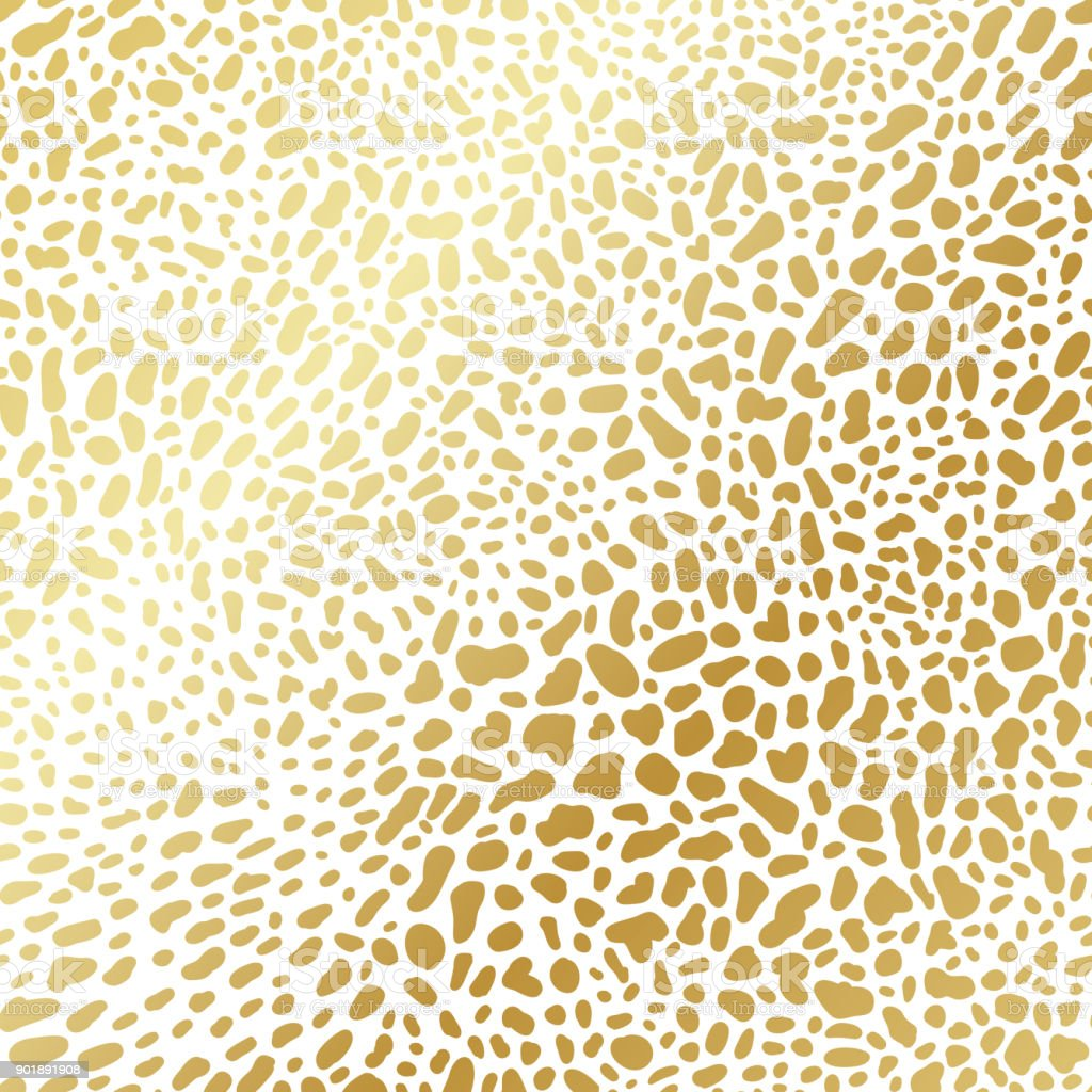 Gold gradient leopard greeting seamless pattern. Vector rich exotic animal skin ornate, shining background in luxury style