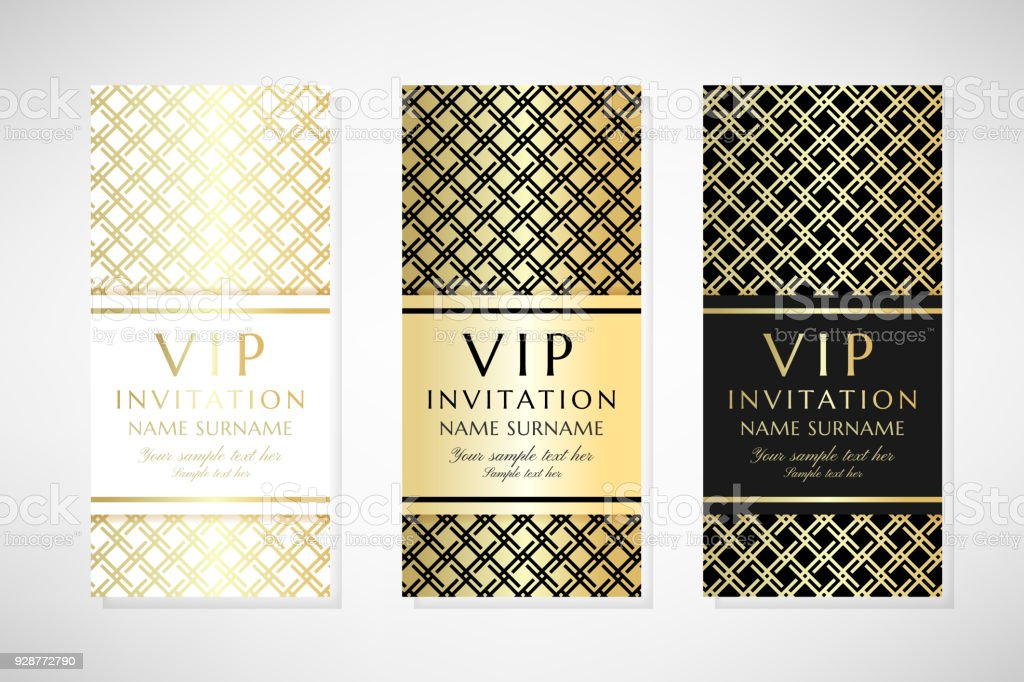 Gold Grid Vip Invitation Templates Stock Vector Art More Images Of