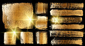 Gold Grunge Brush Stroke Paint Boxes Backgrounds Black and White