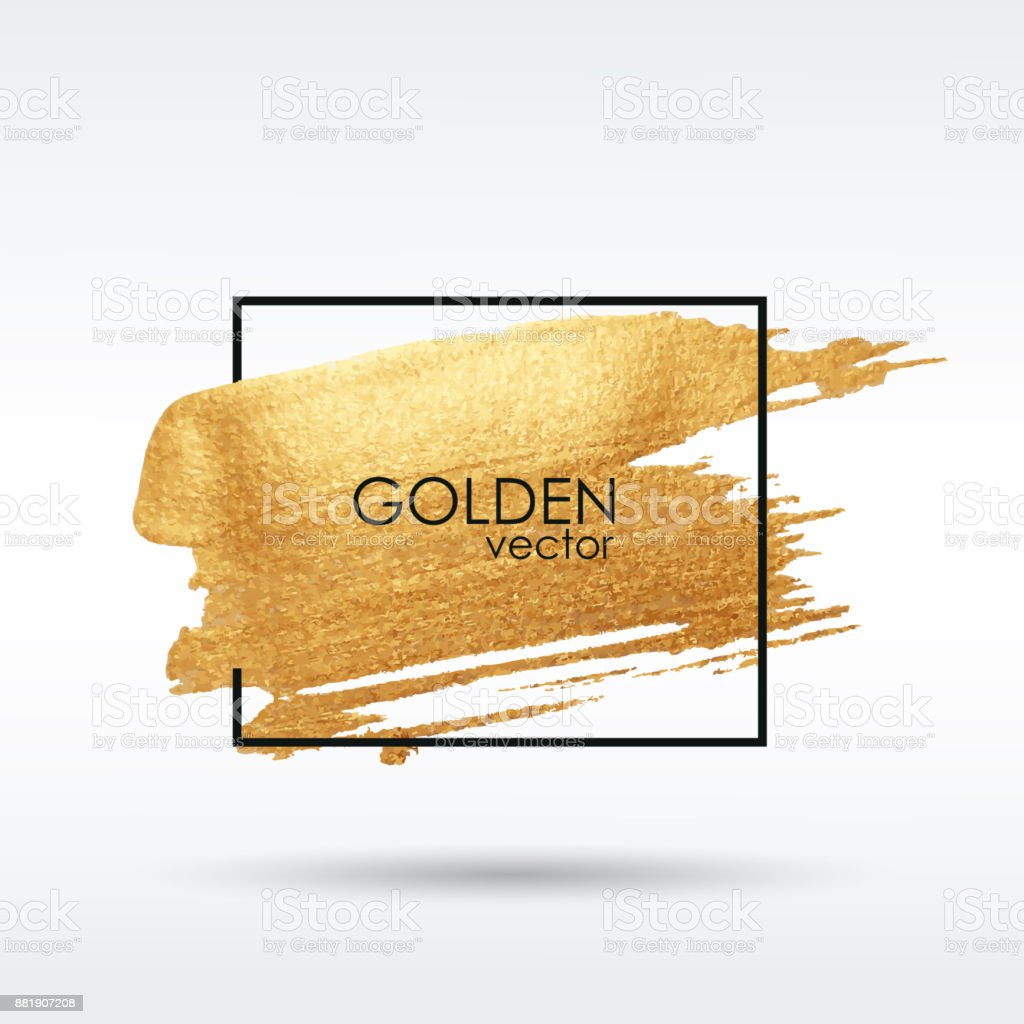 Gold grunge texture. Brushstroke. Smear with an artistic brush. Vector. vector art illustration