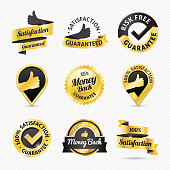 Vector illustration of some gold satisfaction guaranteed / warranty icons and badges.