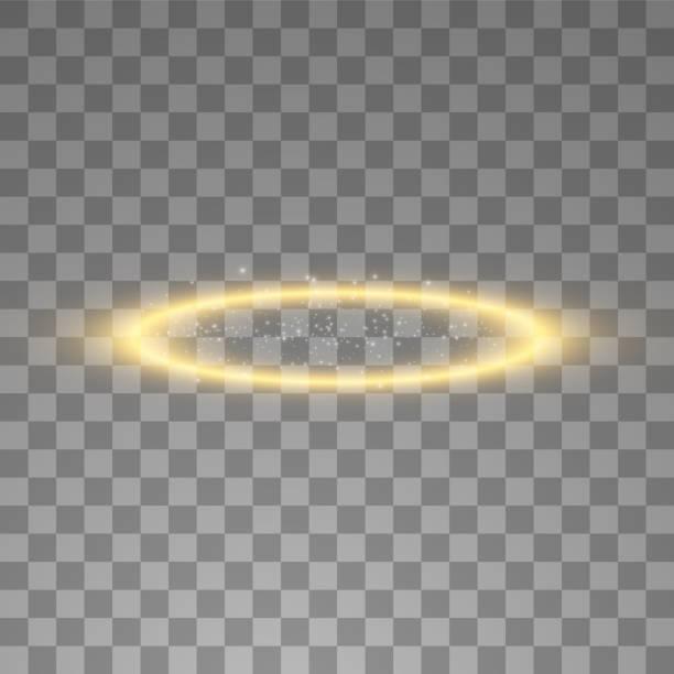 illustrazioni stock, clip art, cartoni animati e icone di tendenza di anello angelo alone d'oro. isolato su sfondo nero trasparente, illustrazione vettoriale - aureola