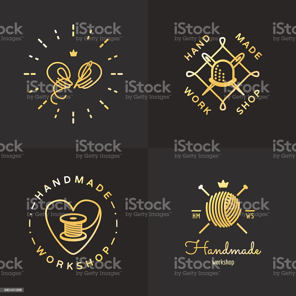 Gold handmade vintage hipster logo vector set. Part two. vector art illustration