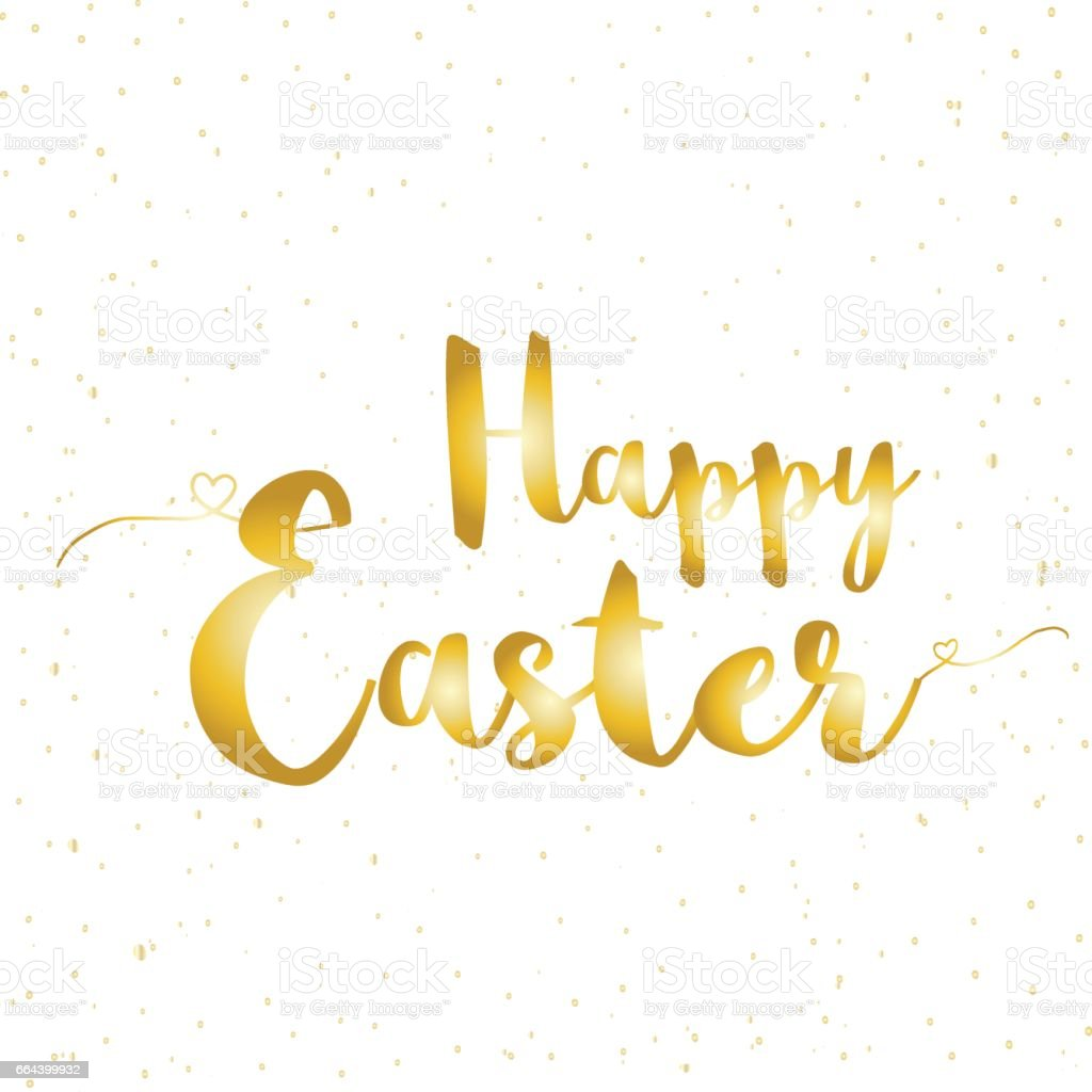 gold happy easter greeting card with lettering stylish postcard