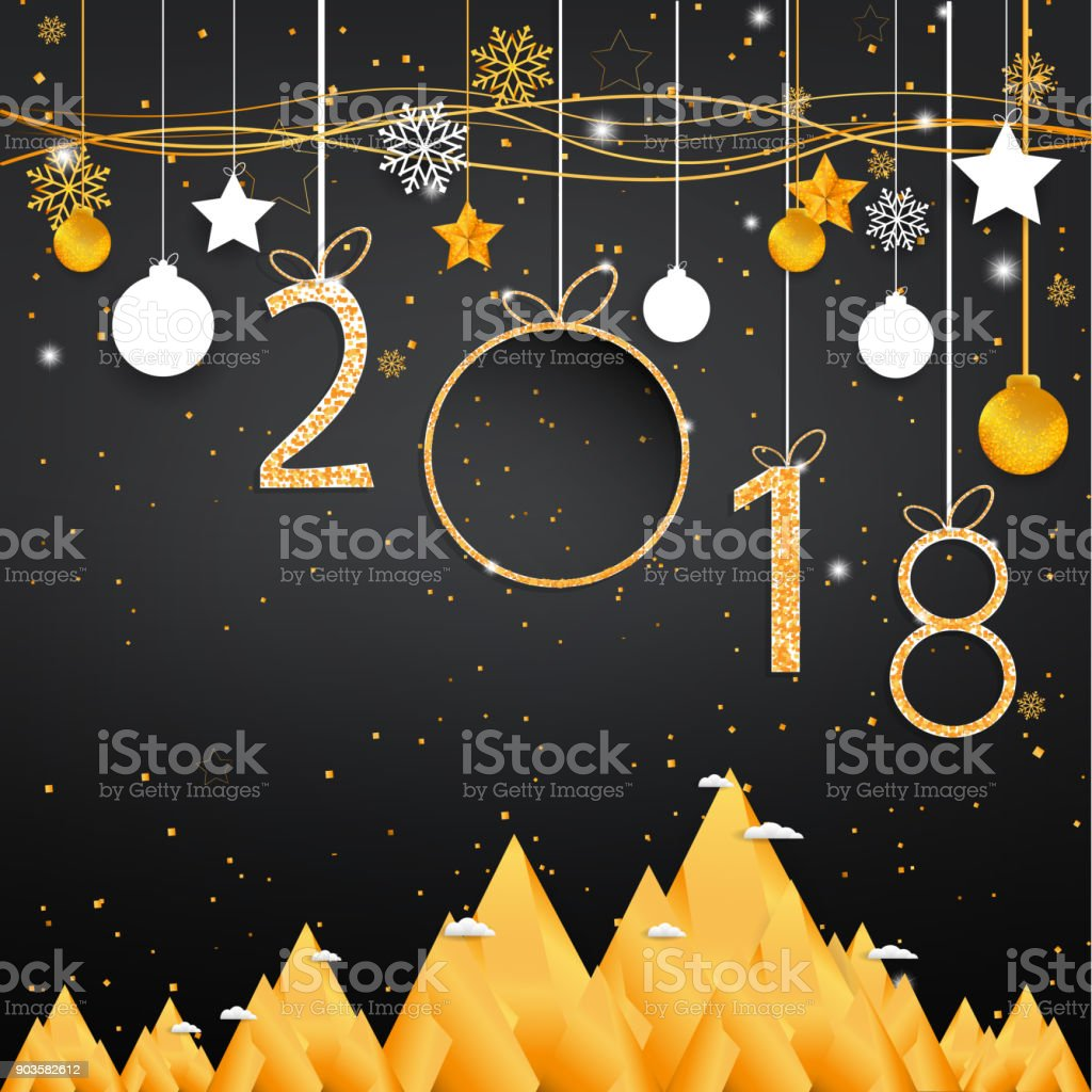 gold happy new year 2018 on black background with empty space label for text and design