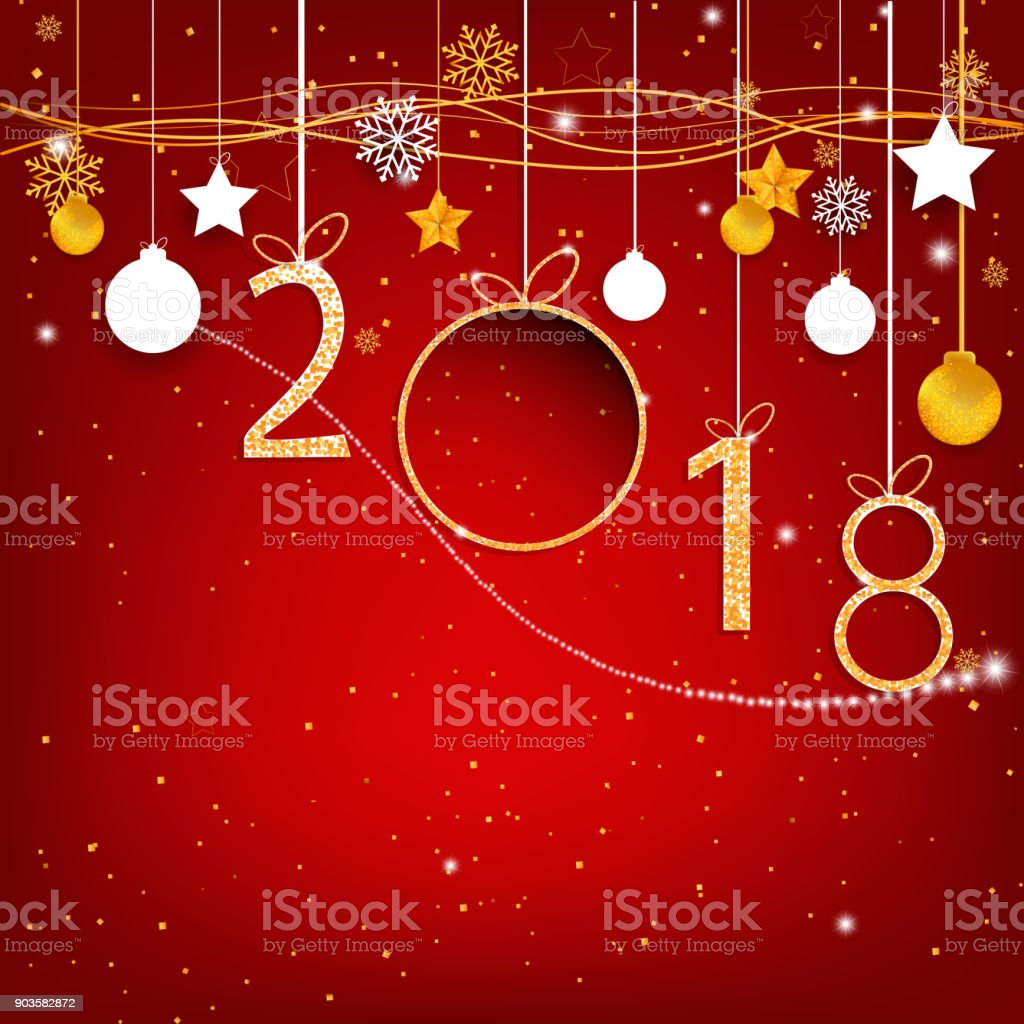 gold happy new year 2018 on red background with empty space label for text and design